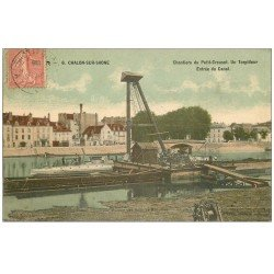 carte postale ancienne 71 CHALON-SUR-SAONE. Un Torpilleur Chantiers du Petit-Creusot au Canal 1906