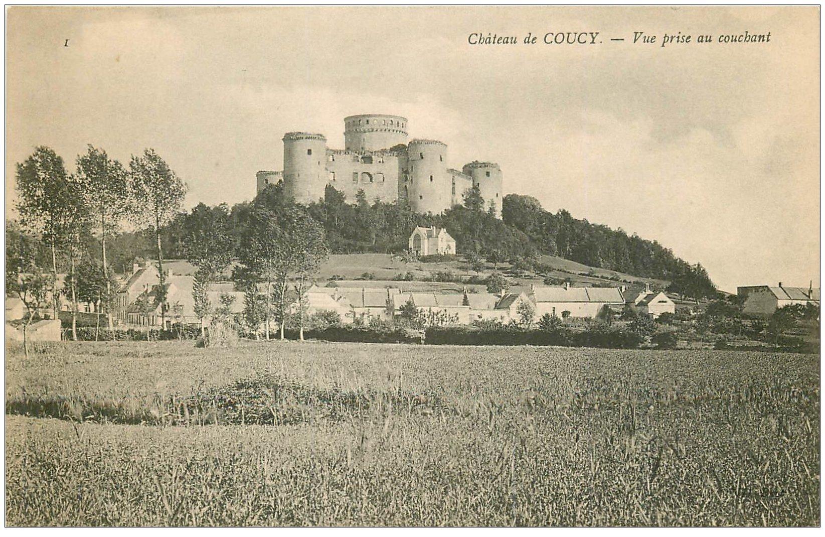 carte postale ancienne 02 COUCY-LE-CHATEAU. Vue du couchant