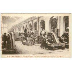 carte postale ancienne 71 LE CREUSOT. Atelier Montage Machines électriques 1917. Usines Schneider
