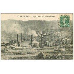 carte postale ancienne 71 LE CREUSOT. Forges à main et Fonderie d'Acier 1922. Usines Schneider