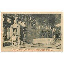 carte postale ancienne 71 LE CREUSOT. Gros Laminoir pour lingot 1909. Usines Schneider