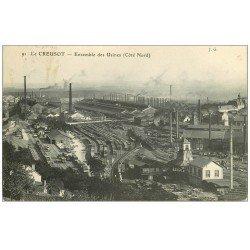 carte postale ancienne 71 LE CREUSOT. L'ensemble avec Vagons et Cheminées 1914. Usines Schneider