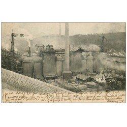 carte postale ancienne 71 LE CREUSOT. Les Hauts Fourneaux 1902. Usines Schneider