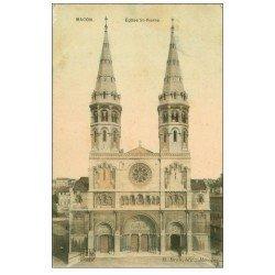 carte postale ancienne 71 MACON. Eglise Saint-Pierre 1908. Carte Photo émaillographie (tendance à se recroqueviller)..