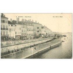 carte postale ancienne 71 MACON. Pêcheurs sur le Quai. Aux Caves Populaires et Restaurant Antoine