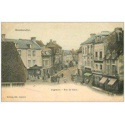 carte postale ancienne 14 ARGENCES. Rue de Caen 1905 Café du Cultivateur