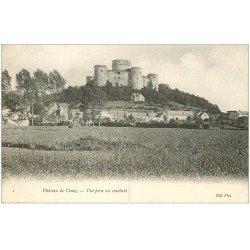 carte postale ancienne 02 COUCY-LE-CHATEAU. Vue du couchant 1906