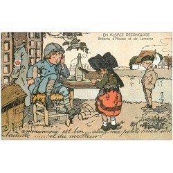 carte postale ancienne 68 ALSACE RECONQUISE. Enfants d'Alsace Lorraine. Illustrateur Maréchaux. Encore une bouteille...
