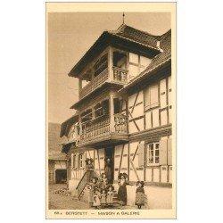 carte postale ancienne 68 BERSTETT. Maison à Galerie