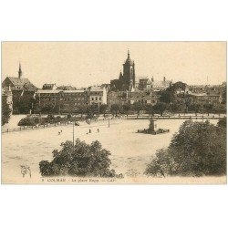 carte postale ancienne 68 COLMAR. La Place Rapp 1926