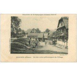 carte postale ancienne 68 FRIESEN. Laveuse à l'Abreuvoir du Village 1915