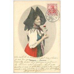 carte postale ancienne 68 GEBWEILER. Elsässerin Alsacienne 1907. Timbre 10 Deutsche Reich