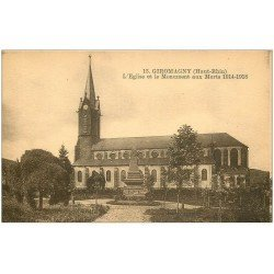 carte postale ancienne 68 GIROMAGNY. Eglise et Monument aux Morts 1931