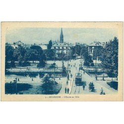 carte postale ancienne 68 MULHOUSE. Attelage et Tramway sur le Pont à l'Entrée de la Ville 1924
