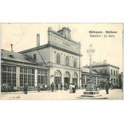 carte postale ancienne 68 MULHOUSE. La Gare 1908 Bannhof