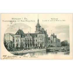 carte postale ancienne 68 MULHOUSE. La Poste canal du Rhône au Rhin 1904