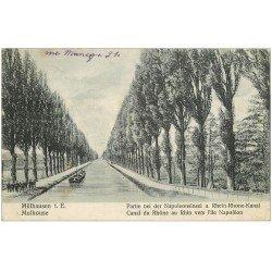 carte postale ancienne 68 MULHOUSE. Péniche sur Canal du Rhône au Rhin vers Ile Napoléon