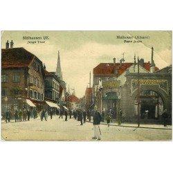 carte postale ancienne 68 MULHOUSE. Restaurant Iffrig Porte Jeune 1907. Carte laquée pli coin droit et timbre manquant