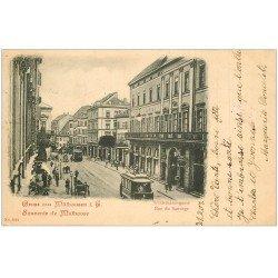 carte postale ancienne 68 MULHOUSE. Tramways rue du Sauvage 1901