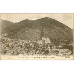 carte postale ancienne 68 THANN. Cathédrale et Montagne du Ranger. Tampon Militaire