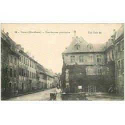 carte postale ancienne 68 THANN. Fontaine Rue Principale 1917