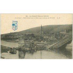 carte postale ancienne 68 THANN. Pont sur la Thür détruit 1915