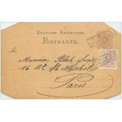 carte postale ancienne 67 STRASBOURG STRASSBURG. Carte correspondance pour Bloch à Paris vers 1877-1887 coins biseautés