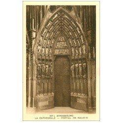 carte postale ancienne 67 STRASBOURG STRASSBURG. Cathédrale. Portail gauche