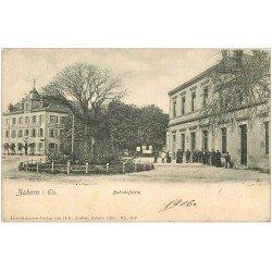 carte postale ancienne 67 ZABERN SAVERNE. Bahnhosplatz 1906. Timbre manquant