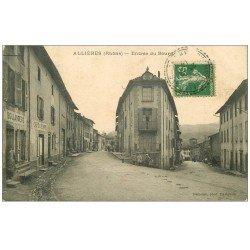 carte postale ancienne 69 ALLIERES. Boulangerie Café de la Poste à l'Entrée du Bourg 1914