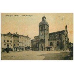 carte postale ancienne 69 AMPLEPUIS. Place de l'Eglise Pâtisserie et Epicerie. Carte toilée vierge
