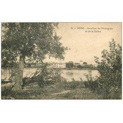 carte postale ancienne 69 ANSE. Jonction Azergues et Saône 1924