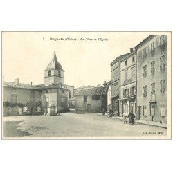 carte postale ancienne 69 BAGNOLS. Café Charmetton Place Eglise