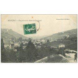 carte postale ancienne 69 BEAUJEU. Cycliste Route de Lantignié 1908