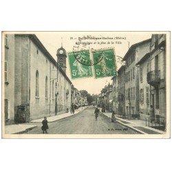 carte postale ancienne 69 BELLEVILLE-SUR-SAÔNE. Hôtel-Dieu et Bas de la Ville 1917