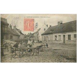 carte postale ancienne 02 CREPY-EN-LAONNOIS. Place Notre-Dame 1905. Machines agricoles