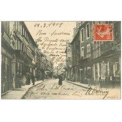 carte postale ancienne 14 BAYEUX. Commerce Cartes Postales Journaux rue Saint-Malo 1909 et Coiffeur