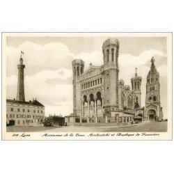 carte postale ancienne 69 LYON. Ascenseur Tour et Archevêché