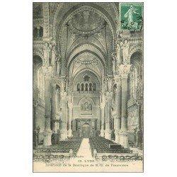carte postale ancienne 69 LYON. Basilique Notre-Dame de Fourvière 1909 intérieur