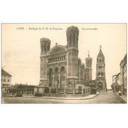 carte postale ancienne 69 LYON. Basilique Notre-Dame de Fourvière vue ensemble