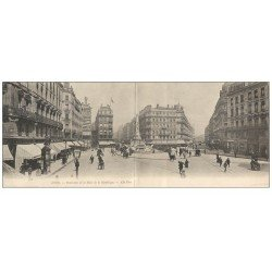 carte postale ancienne 69 LYON. Carte double panoramique. Place de la République. Panneau Ricqlès