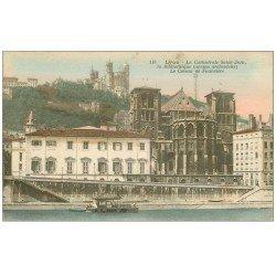 carte postale ancienne 69 LYON. Cathédrale et Bibliothèque 1917