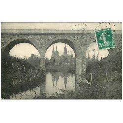 carte postale ancienne 14 BAYEUX. Le Pont au Chemin de Fer 1912