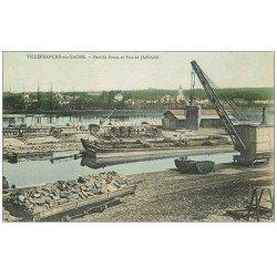 carte postale ancienne 69 VILLEFRANCHE-SUR-SAÔNE. Grue, Péniches, Vagons et Attelages au Port de Frans. Vue de Jassans