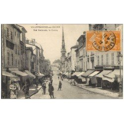 carte postale ancienne 69 VILLEFRANCHE-SUR-SAÔNE. Le Centre Rue Nationale 1922