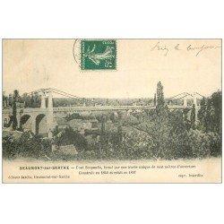 carte postale ancienne 72 BEAUMONT-SUR-SARTHE. Pont Suspendu 1907