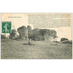 carte postale ancienne 72 BOURG-LE-ROI. Enfants assis sur l'herbe 1911