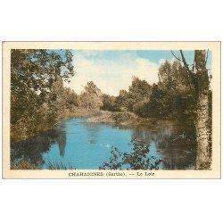 carte postale ancienne 72 CHAHAIGNES. Le Loir 1954