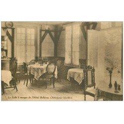carte postale ancienne 72 CHAHAIGNES. Salle à Manger Hôtel Bellevue 1941