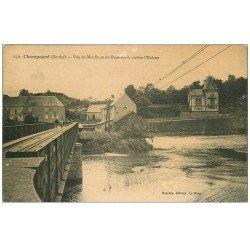 carte postale ancienne 72 CHAMPAGNE. Moulin et Pont sur Rivière Huisne 1931